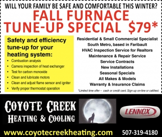 Fall Furnace Tune-Up Special $79*