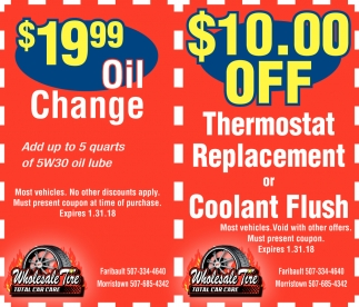 Coupons, Wholesale Tire, Faribault, MN