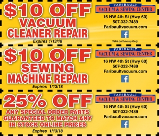 Coupons, Faribault Vacuum and Sewing Center, Faribault, MN