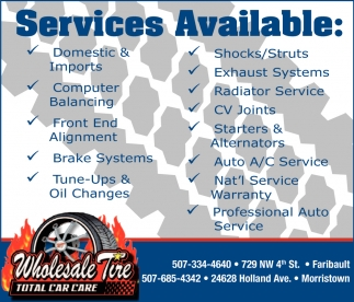 Services, Wholesale Tire, Faribault, MN