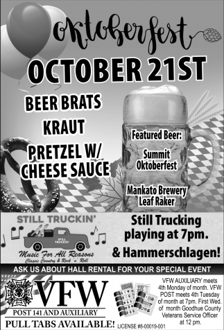 Oktoberfest - October 21st, VFW POST 141 Kenyon, Kenyon, MN