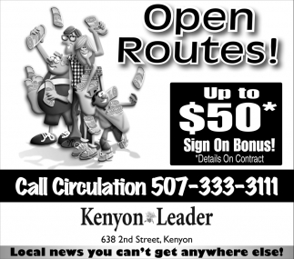 Open Routes!, The Kenyon Leader, Faribault, MN