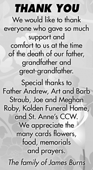 Thank You, Family of James Burns