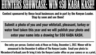 Hunters Showcase: Win $50 Kaba Kash!, The Kenyon Leader, Faribault, MN