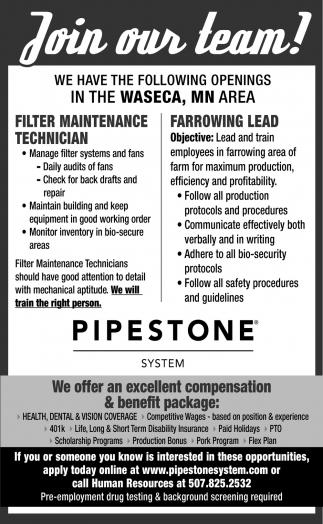 Filter Maintenance Technician / Farrowing Lead