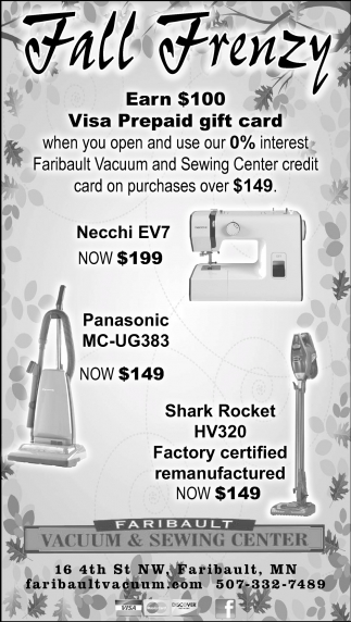 Fall Frenzy, Faribault Vacuum and Sewing Center, Faribault, MN