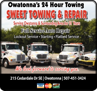 Owatonna's 24 Hour Towing, Sweet Towing and Repair, Owatonna, MN