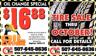 Tire Sale Thru October!, Car Time Auto Center, Dundas, MN