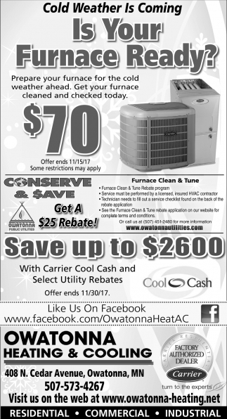 Is Your Furnace Ready?, Owatonna Heating and Cooling, Bloomington, MN