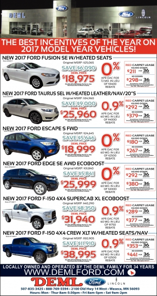 The Best Incentives of The Year on 2017 Model Year Vehicles!