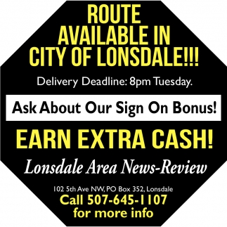 Route Available, Lonsdale Area News Review, Faribault, MN