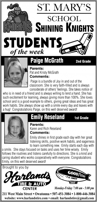 Students of the week, Harland's Tire and Auto Center, Owatonna, MN