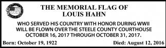 Memorial Flag of Louis Hahn
