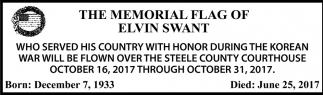 Memorial Flag of Elvin Swant