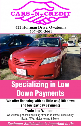 Specializing in Low Down Payments, Cars-N-Credit