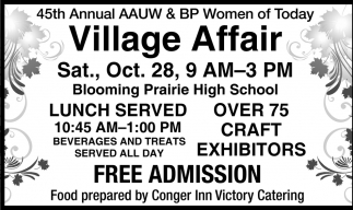 45th Annual AAUW & BP Women Today Village Affair, Blooming Prairie Women of Today