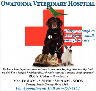 Serving Steele County Since 1966, Owatonna Veterinary Hospital, Owatonna, MN