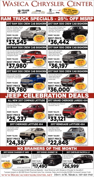 RAM Truck Specials / Jeep Celebration Deals