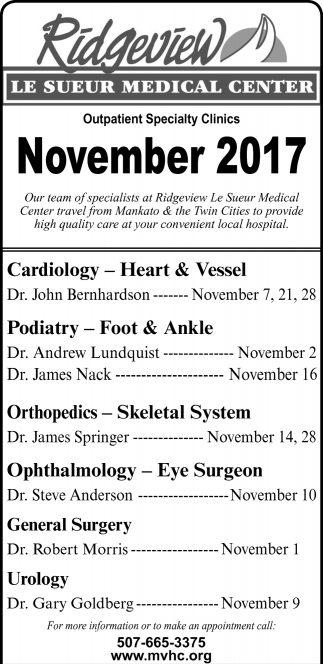 Outpatient Specialty Clinics November 2017