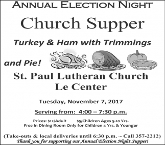 Annual Election Night Church Supper