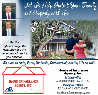 Quality Home Insurance with a personal touch, House Of Insurance Agency, Inc, Montgomery, MN