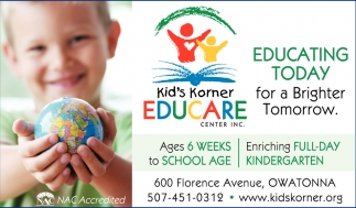 Educating Today for a Brighter Tomorrow, Kid's Korner Educare Center In