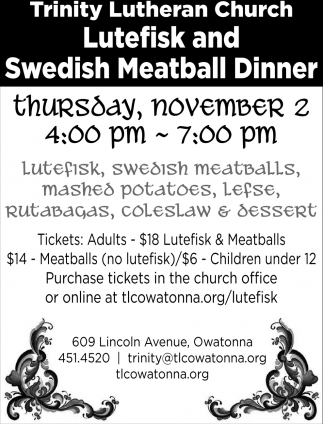 Lutefisk and Swedish Meatball Dinner