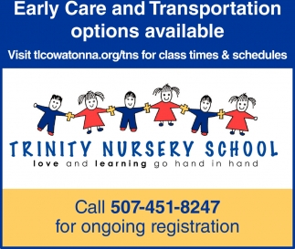 Early Care and Transportation options available, Trinity Nursery School, Owatonna, MN