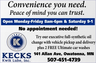 No appointment needed!