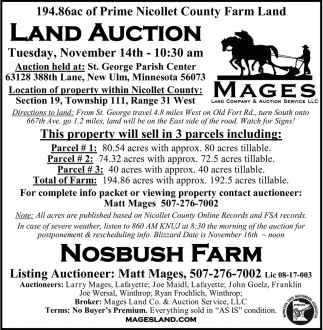 Land Auction, Mages Land Company & Auction Service, Winthrop, MN