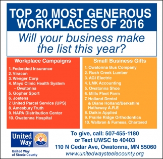 Top 20 Most Generous Workplaces of 2016