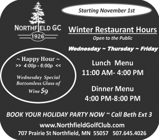 Winter Restaurant Hours