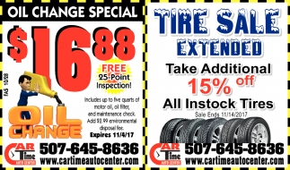 Tire Sale Extended, Car Time Auto Center, Dundas, MN