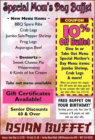 Special Mom's Day Buffet