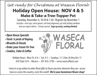 Holiday Open House, Waseca Floral, Waseca, MN