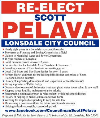 Re-Elect Scott Pelava Lonsdale City Council, Scott Pelava