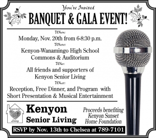 Banquet & Gala Event!, Kenyon Senior Living, Kenyon, MN