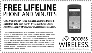 FREE Lifeline Phone and Minutes, Access Wireless, MN