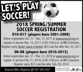 2018 Spring/Summer Soccer Registration