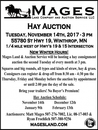 Hay Auction, Mages Land Company & Auction Service, Winthrop, MN