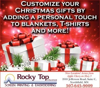 Customize your Christmas Gifts, Rocky Top Screen Printing & Embroidering, Northfield, MN