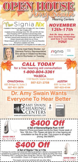 Open House, Amy Swain Hearing Centers, Waseca, MN