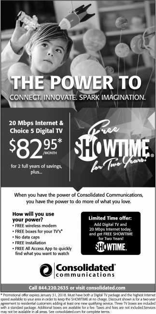 20 Mbps Internet & Choice 5 Digital TV $82,95*/Month