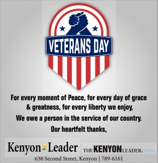 Veterans Day, The Kenyon Leader, Faribault, MN