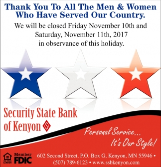 Thank You, Security State Bank of Wanamingo, Wanamingo, MN