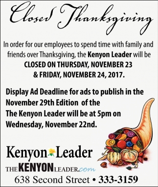 Closed Thanksgiving, The Kenyon Leader, Faribault, MN
