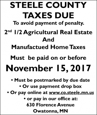 Steele County Taxes Due