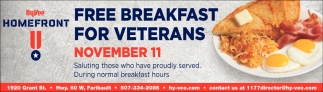 Free Breakfast for Veterans