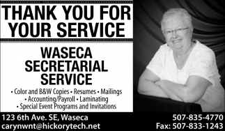 Thank You for Your Service, Waseca Secretarial Service, Waseca, MN