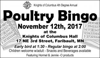 Poultry Bingo